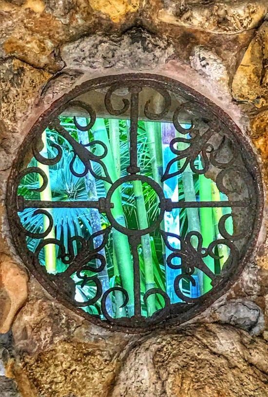 Stone Work Round Window Looking Through Bamboo Metal Art McKee Botanical Garden