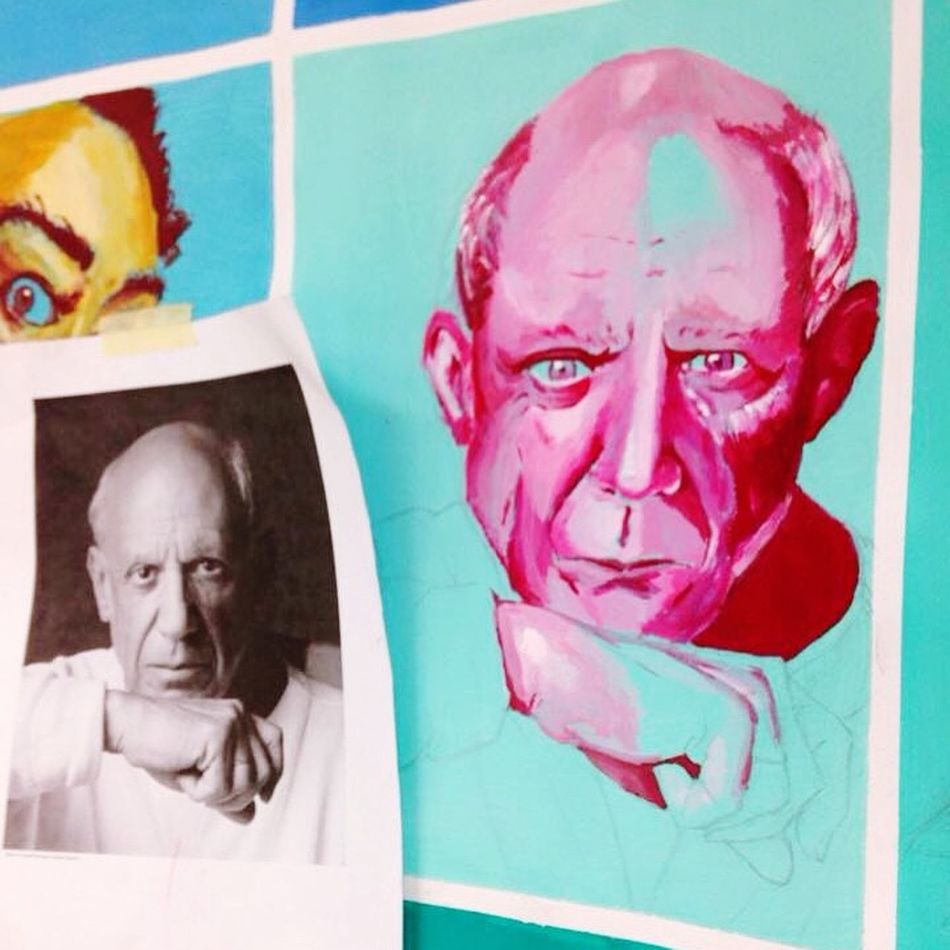 Artwork at school x Picasso. Art ArtWork Schoolart Picasso Drawing Painting Pink Acrylic Portrait Arty