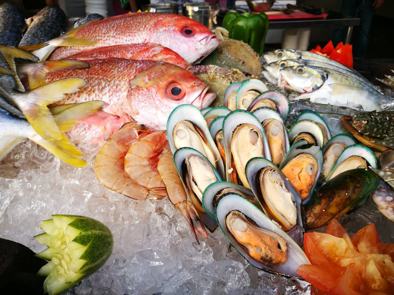 Seafood Fish Freshness Food And Drink Food Healthy Eating Raw Food Fish Market High Angle View Variation Close-up Indoors  Choice For Sale Market No People Large Group Of Animals Animal Themes Octopus Day