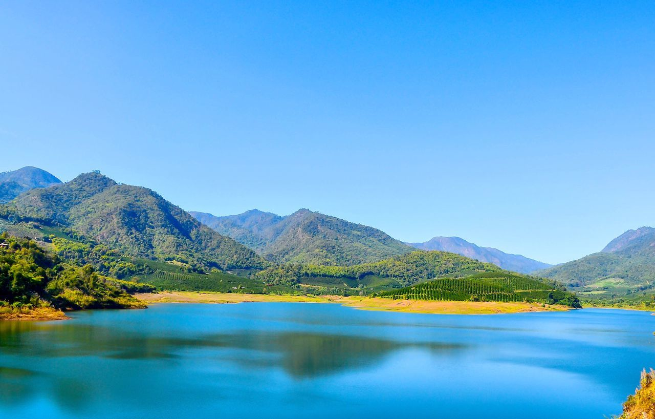 Scenics Mountain Blue Beauty In Nature Tranquil Scene Tranquility Idyllic Nature Clear Sky Water Reflection Mountain Range Outdoors Day Lake Landscape No People Sky Tree