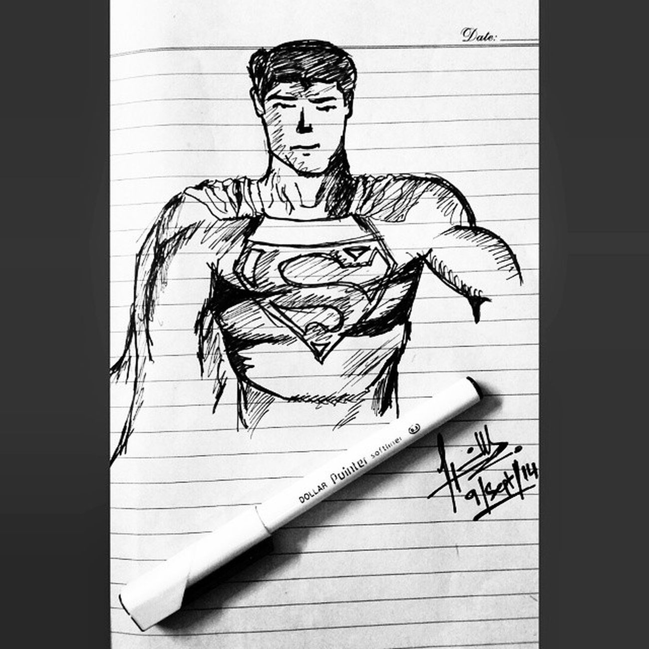 'Random Superman Sketch during Booooriing URDU lecture' Vougepaper Dollarpointer dccomic superman mysigntoo ;)