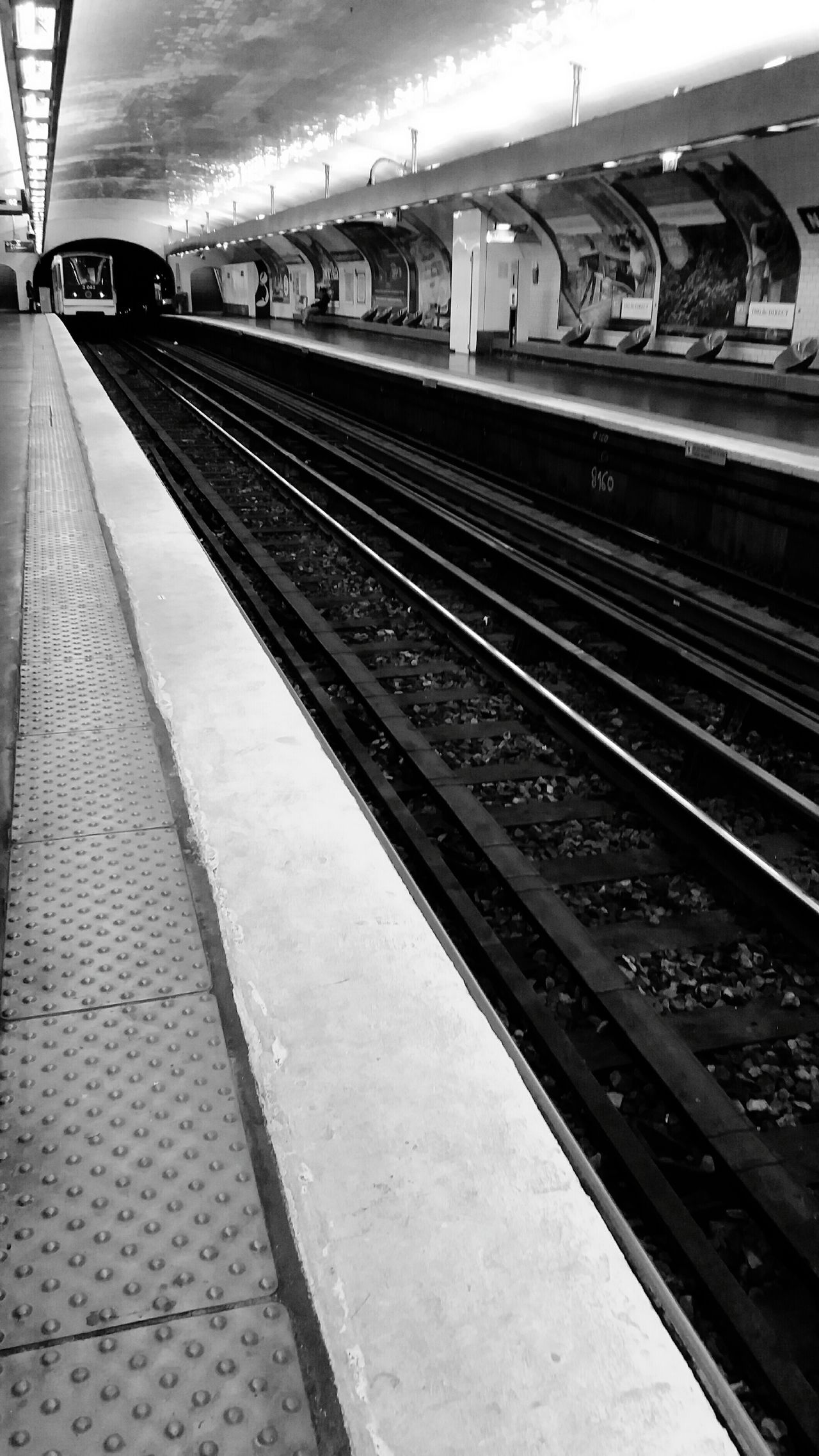 Metro Subway Railroad Track Railroad Track Hello World Check This Out Eye4photography  Eye4photography  EyeEm Best Shots Black And White Black And White Photography Public Transportation Rail Transportation Railroad Station Platform Railroad Station Travel Mode Of Transport Eye For Photography Vanishing Point Modern City Life Underground Station