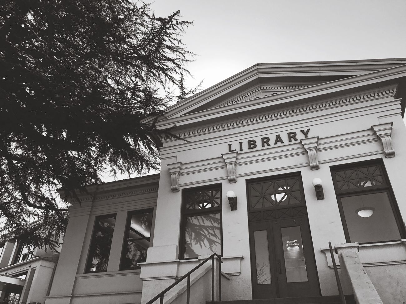 Iibrary Architecture Building Exterior Built Structure Low Angle View Architectural Column No People Tree Outdoors Sky Day Read A Book Public Library Ashland, OR