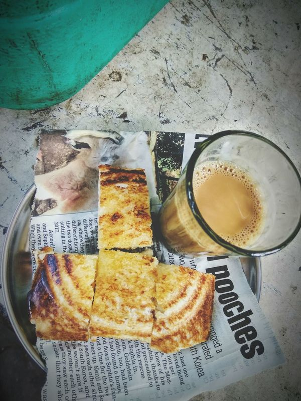 Bread Butter And Tea,Food And Drink High Angle View Freshness Food Table Drink Drinking Glass Refreshment No People Serving Size Ready-to-eat Indoors  Day Close-up