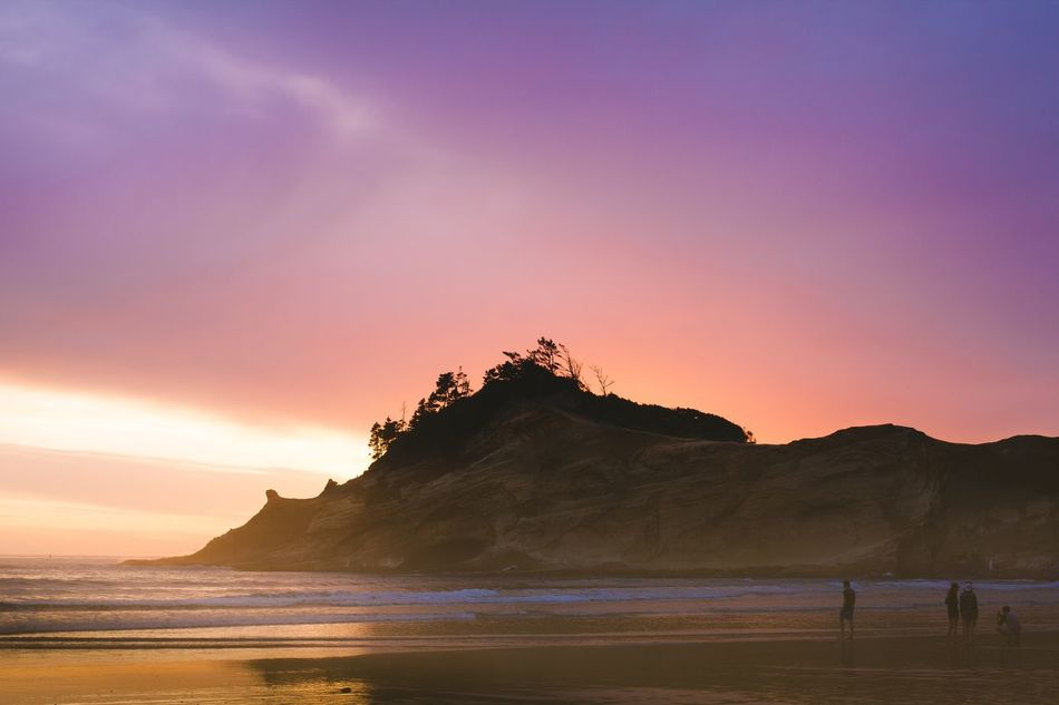 Sunset Sea Beach Nature Beauty In Nature Scenics Sky Water Tranquil Scene Silhouette Sun Tranquility Outdoors Mountain Travel Destinations Horizon Over Water Wave No People Photo PNWonderland Pacific Northwest