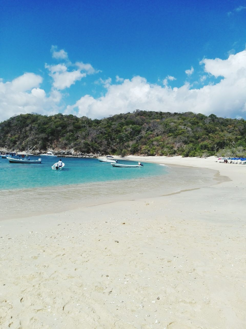 beach, sand, sea, water, sky, shore, cloud - sky, nautical vessel, nature, scenics, beauty in nature, transportation, tranquility, day, tranquil scene, blue, summer, mountain, no people, outdoors, tree, vacations, jet boat