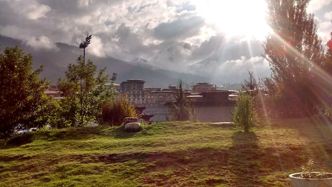 I took this shot when I was on a Lonely Walk during a Pleasant Evening in Bhutan , the country full of Happiness . A View from the Walkingbuddha Park . Sunlight Bright Sunbeam Lens Flare