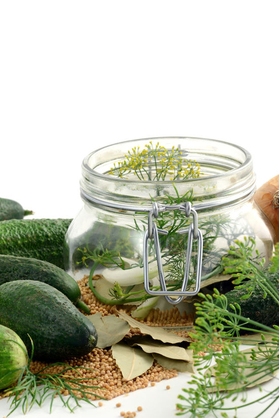 homemade cucumbers in jar glass with herbs like dill and onions. Food Food And Drink Healthy Eating Vegetable Cucumber Jar Glass Einweckglas Herbs Dill Onions Onion Saure Gurken Studio Shot White Background Isolated White Background Isolated