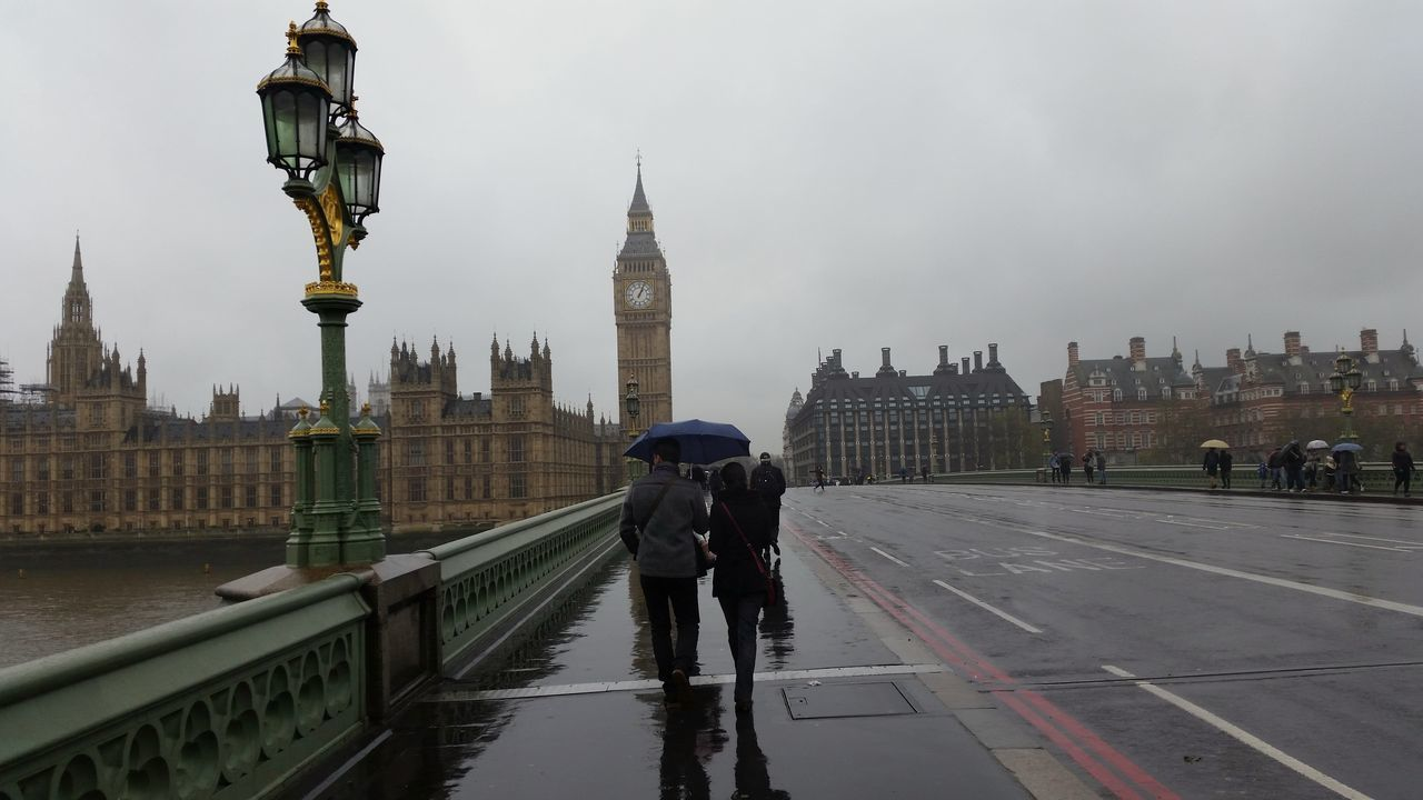 Bridge - Man Made Structure City Clock Clock Face Clock Tower Government London People Rainy Days Tourism Travel Destinations Westminster Bridge