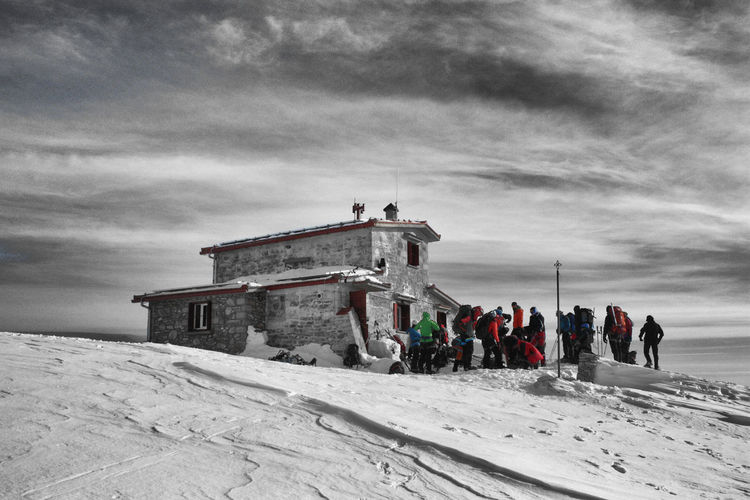 Cloud - Sky Cold Temperature EyeEm Nature Lover Greece Landscape Large Group Of People Mountain Nature Olympus Mountain Outdoors Scenics Sky Snow Winter