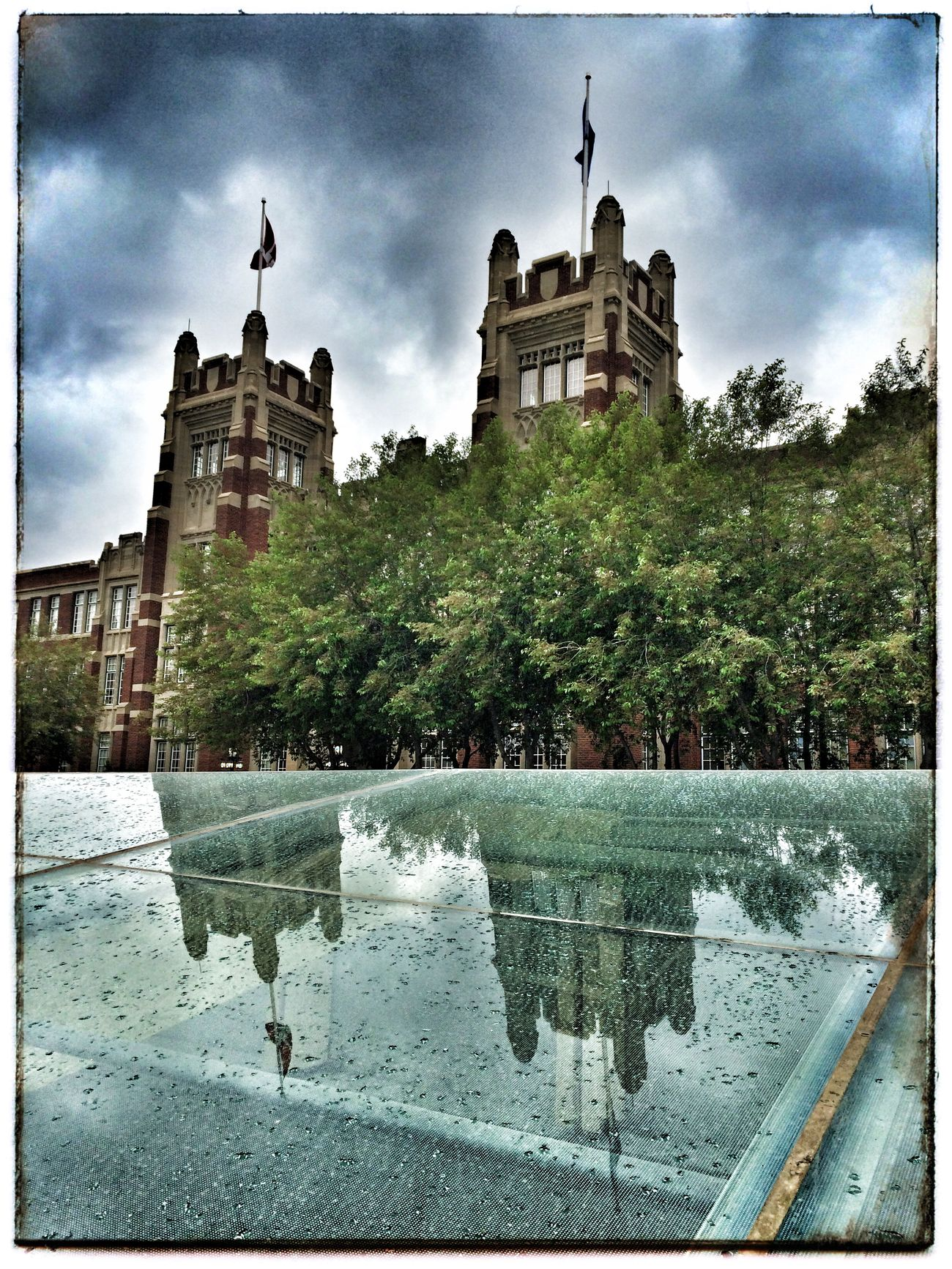 Rainy night on campus 1. Photography Iphone 5 Photo Of The Day Project 365 Rain Reflection Architecture
