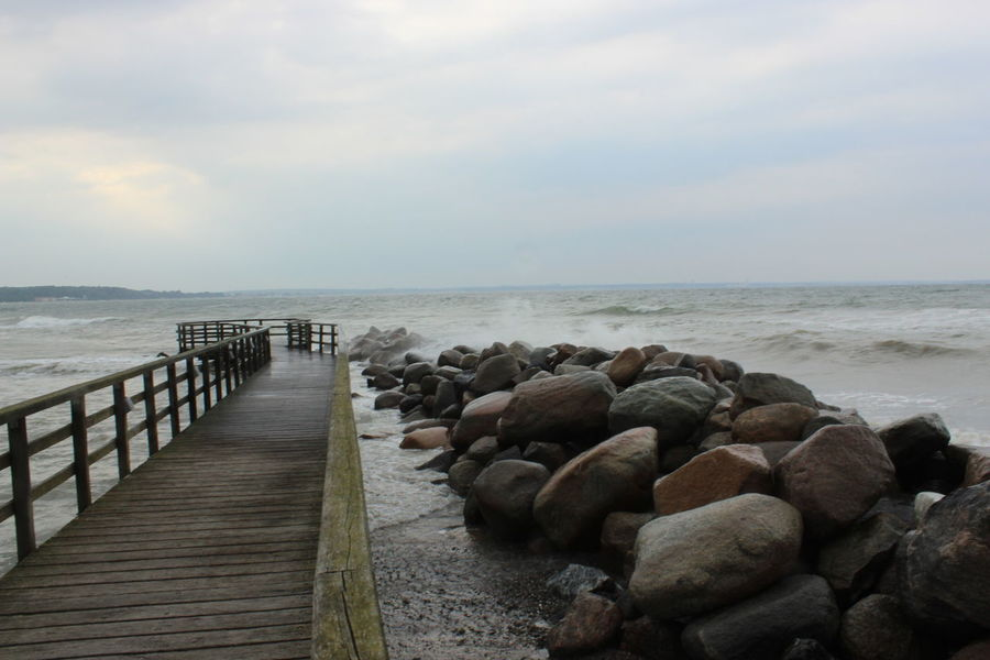 Blue Color FAR AWAY Lübeck Ocean View Cold Temperature Dock Dramatic Landscape Escape From Reality Northsea Coast Roughness In Nature Silent Moment Thoughts