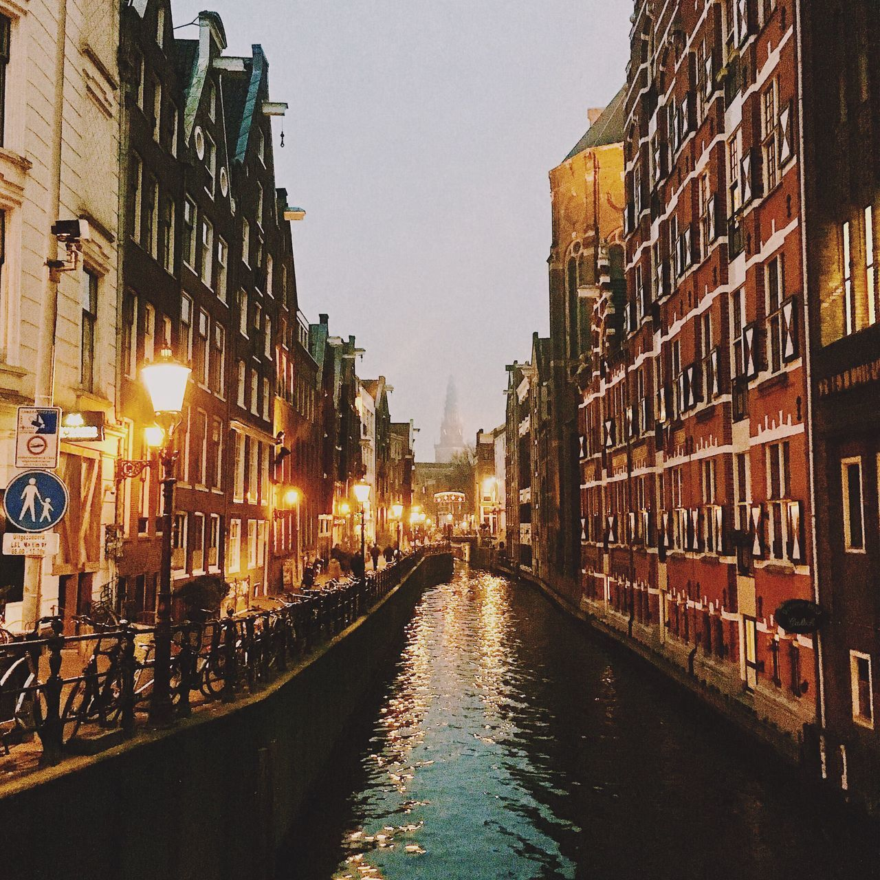 architecture, building exterior, built structure, canal, illuminated, travel destinations, water, no people, city, outdoors, day, sky