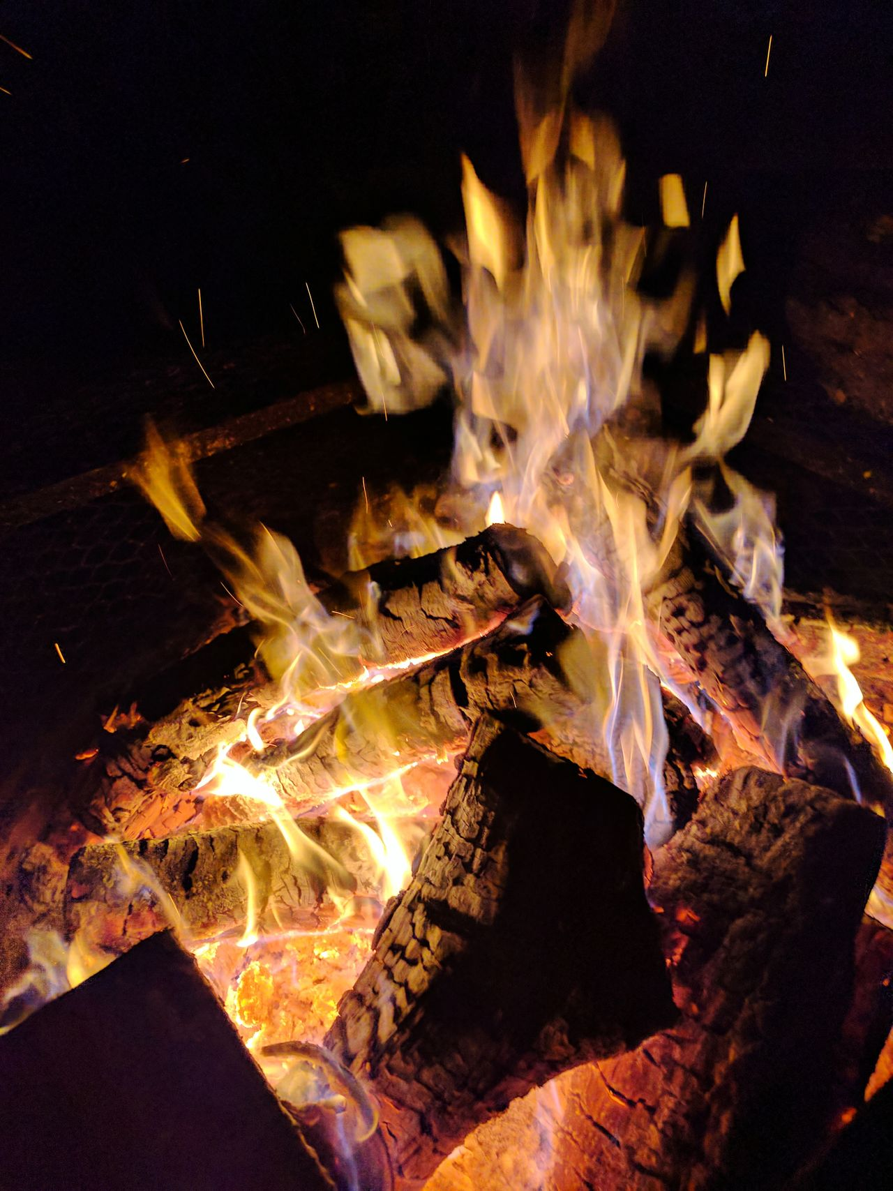 Blazing Fire. Heat - Temperature Flame Motion Close-up Speed Burning No People Night Outdoors Fire Fire - Natural Phenomenon Firewood Outdoorlife Outdoor Fire Burning Flames Flames And Wood Flames Dancing Flames And Fire Flameshots Fire Shot Fireporn Firepits