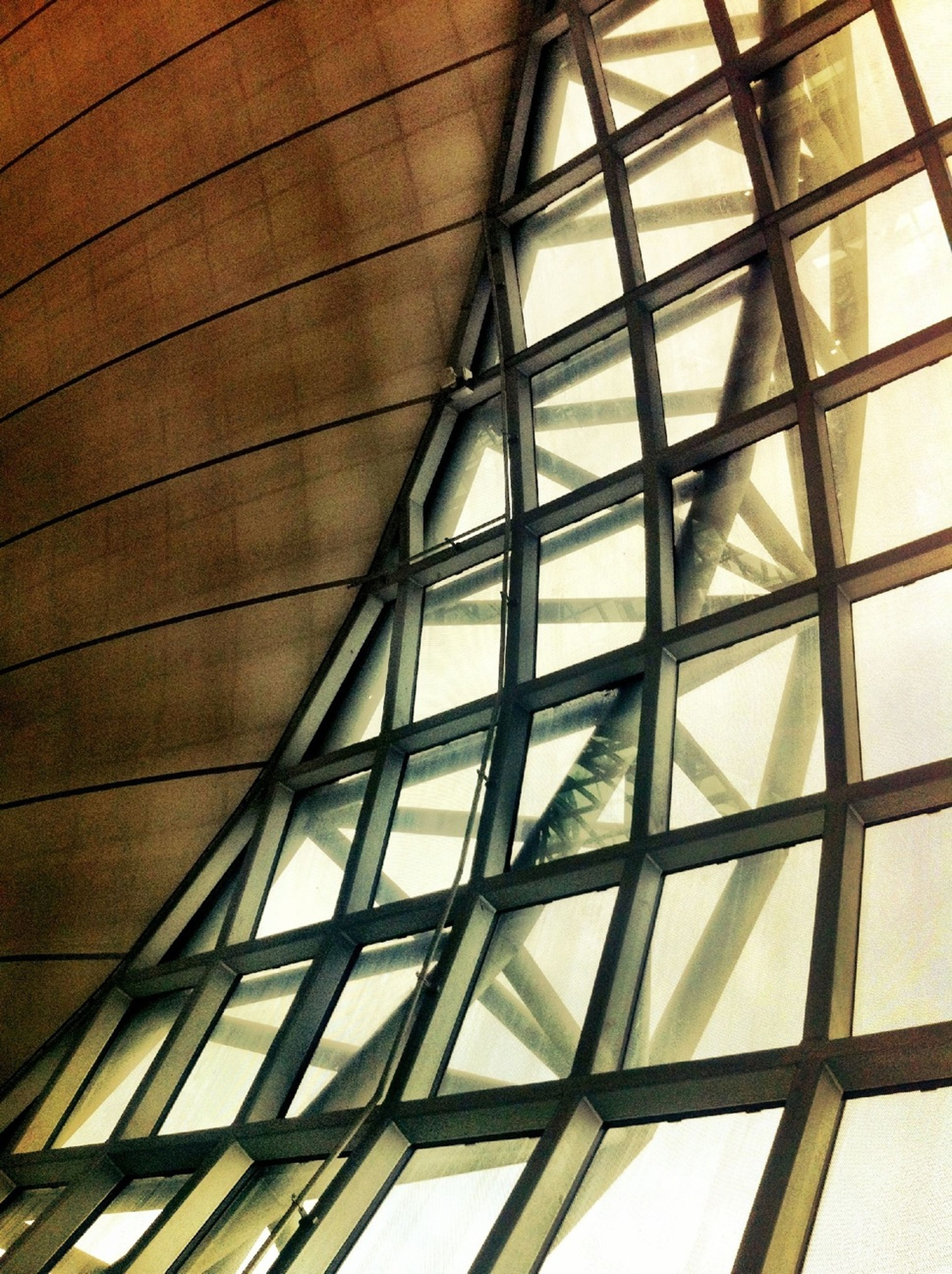 architecture, built structure, low angle view, glass - material, building exterior, indoors, window, modern, pattern, building, architectural feature, ceiling, geometric shape, full frame, directly below, sky, skylight, day, no people, reflection