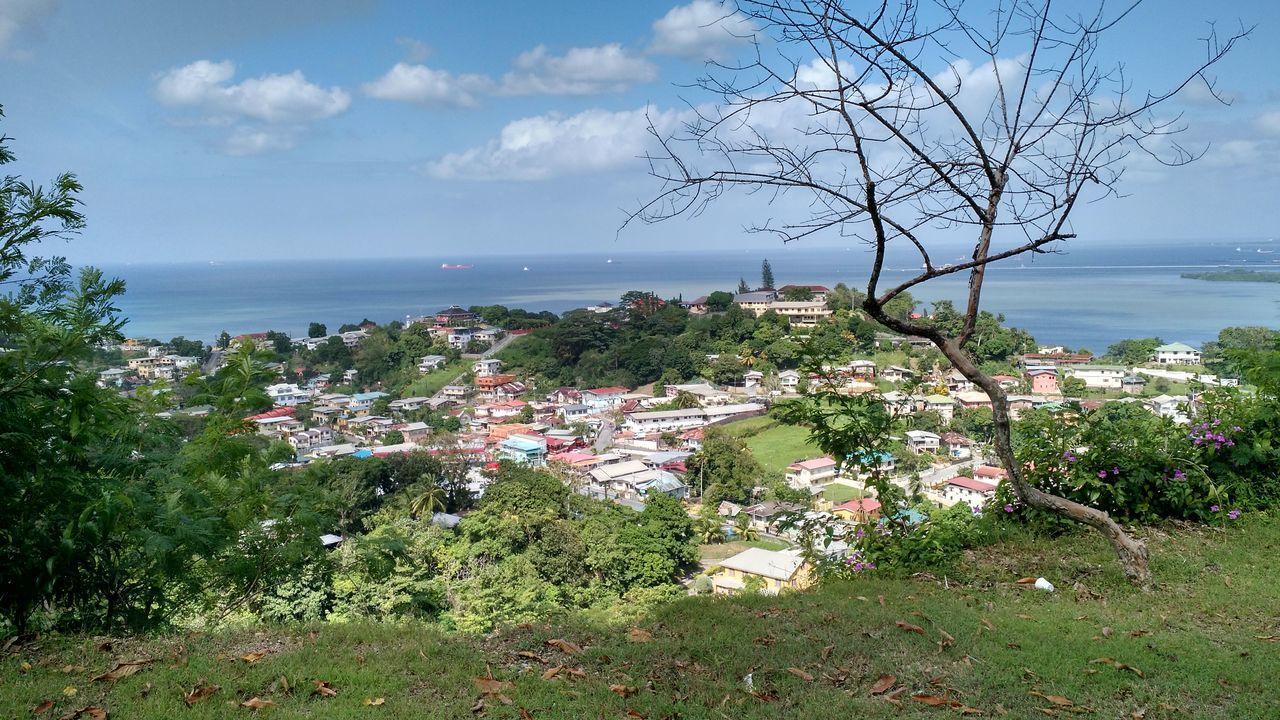 Looking down from San Fernando Hill. Sandō Vacation Trinidad Trinidad And Tobago Sandohill Seaviews Nature Ocean Ocean View
