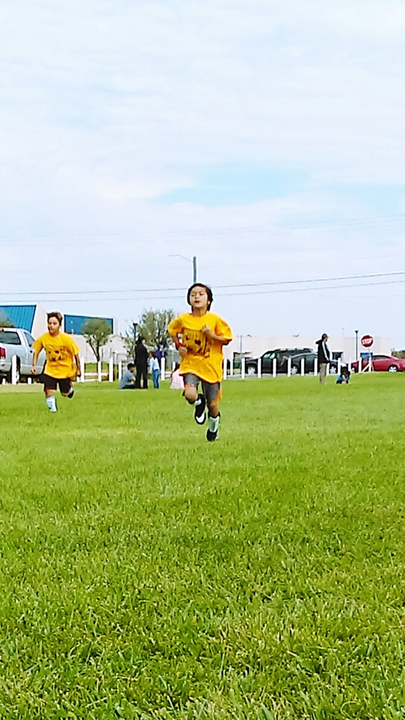 Soccer Soccer Life Soccer Game Nice Day Green Grass Blue Sky Sunshine Warm Ups Laps Thats My Boy !