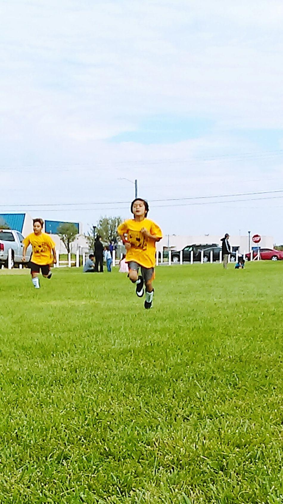 Soccer Soccer Life Soccer Game Nice Day Green Grass Blue Sky Sunshine Warm Ups Laps Thats My Boy !