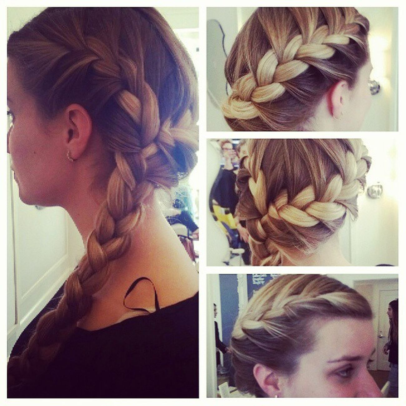 Braids braids why not braid them together. This girl has the most beautiful long naturally curly hair and blond... GoldenGlobes2015HAIR GoldenBlonde Blondehairdontcare Blonde braid Braiding btspics