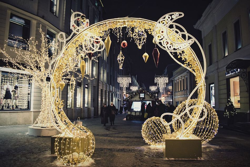 Christmas decorations Illuminated People Outdoors Arch Lights Night Lights Christmas Lights Street Photography Nightphotography Night Photography Night City Street Illumination Christmas Decorations Decoration Christmas Ornament Christmas Around The World