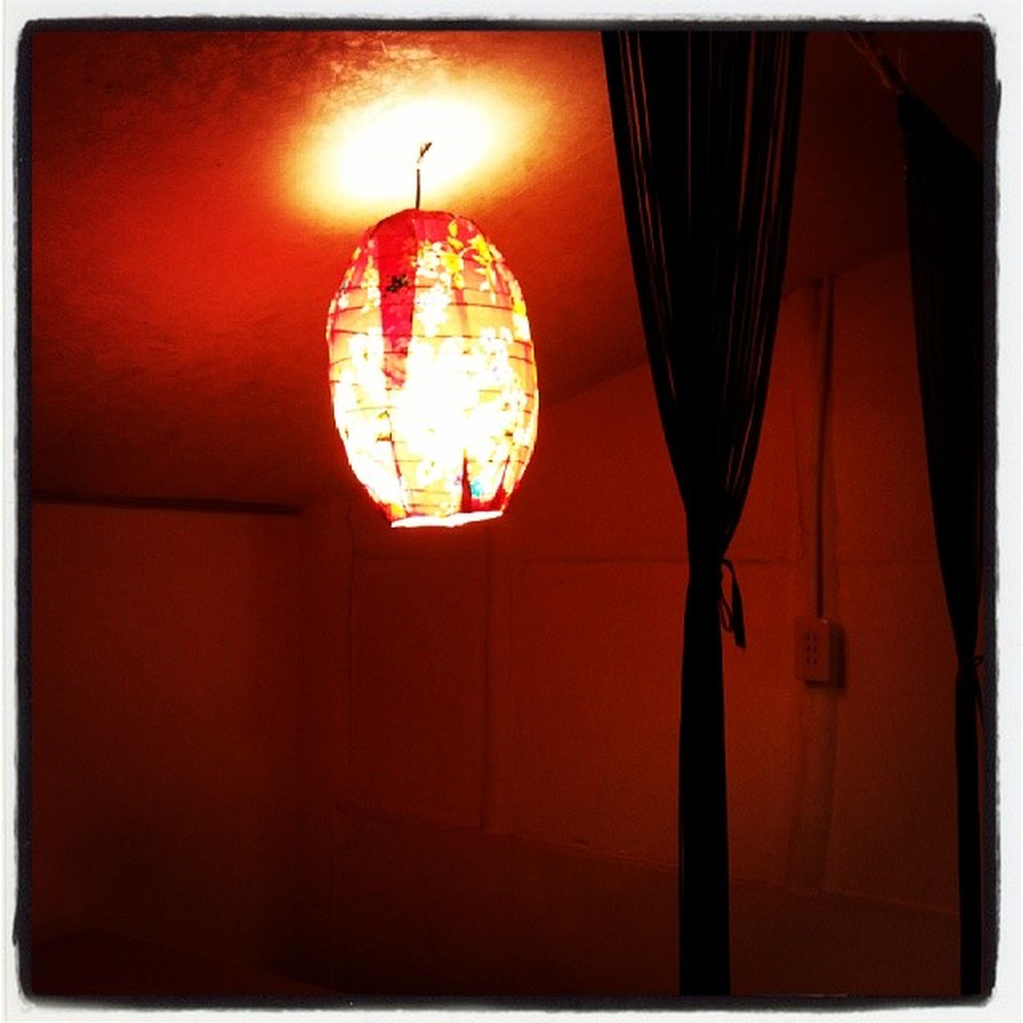illuminated, lighting equipment, transfer print, auto post production filter, indoors, hanging, low angle view, lantern, orange color, electricity, built structure, electric lamp, night, electric light, architecture, glowing, red, decoration, light - natural phenomenon, ceiling