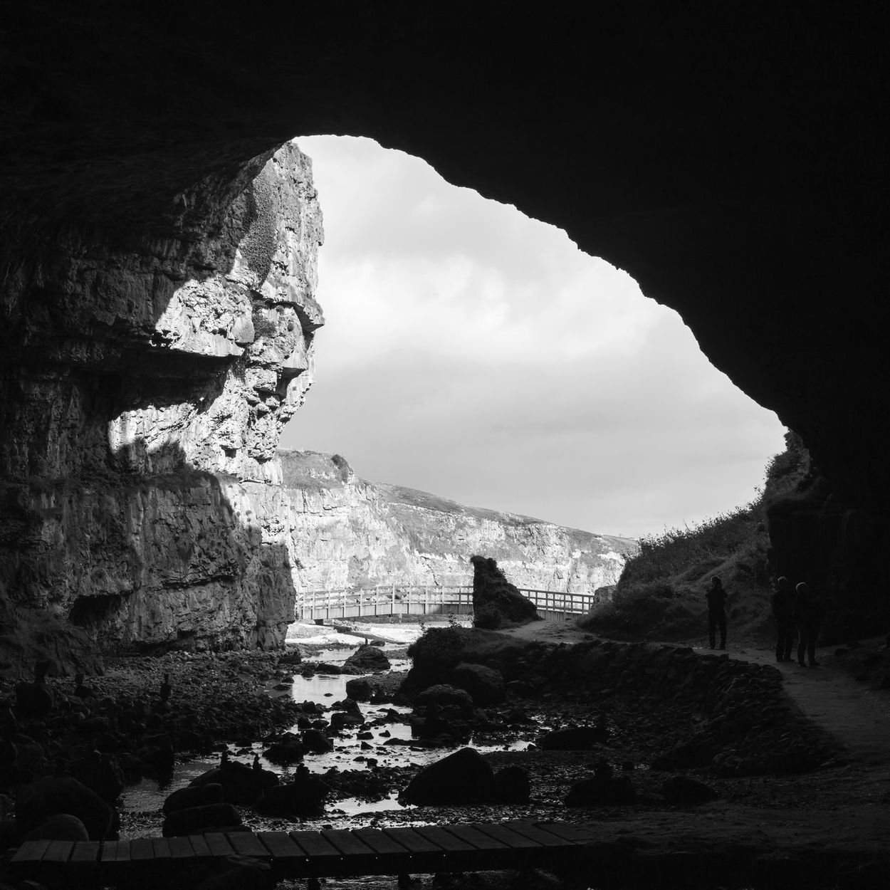 Travel Destinations Travel Sky Ancient Tourism Nature Day Rock - Object Spirituality Indoors  Beauty In Nature Cave Outdoors Blackandwhite Blackandwhite Photography Scotland Highlands Smoo Cave