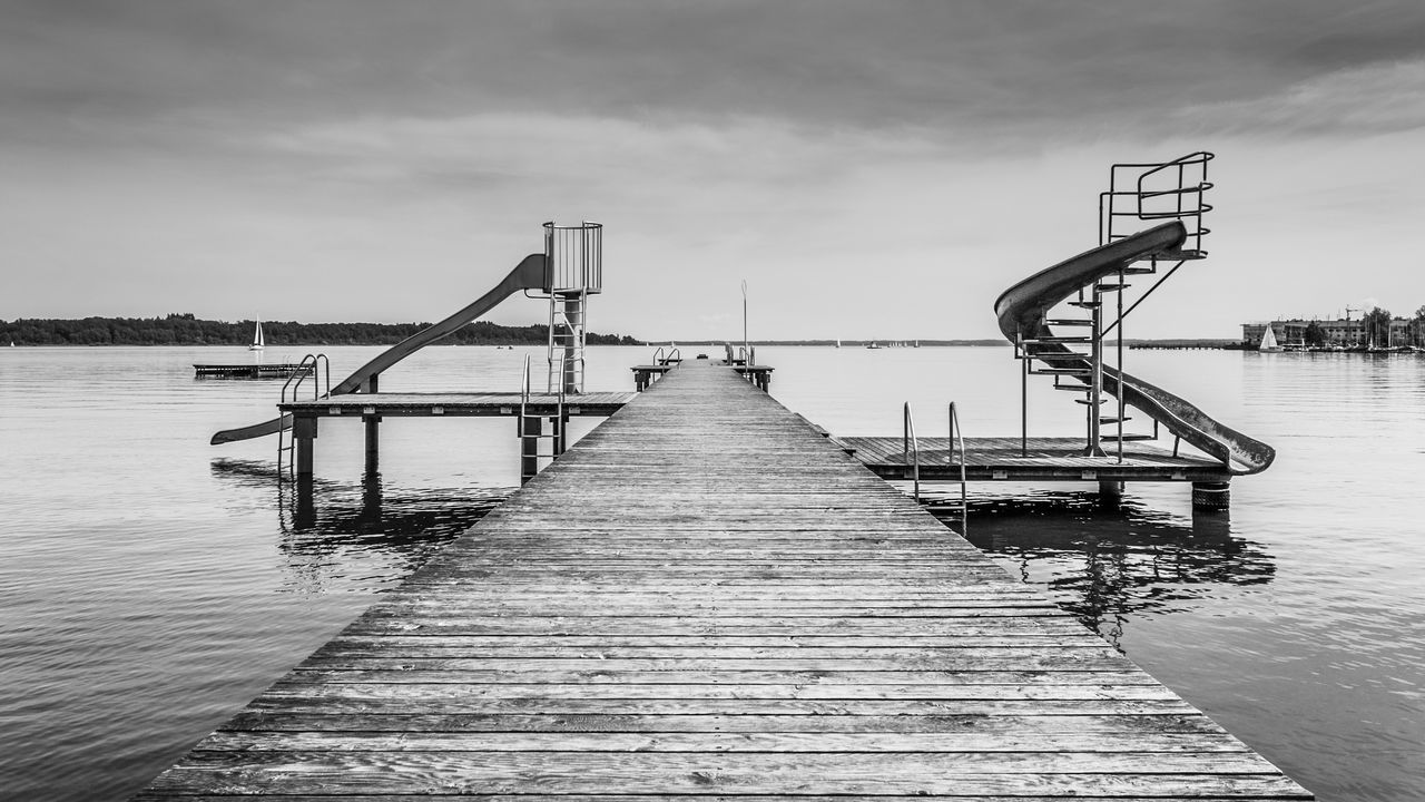 Black And White Day Lake Nature No People Outdoors Photography Sea Sky Slides Spiral Slide Water