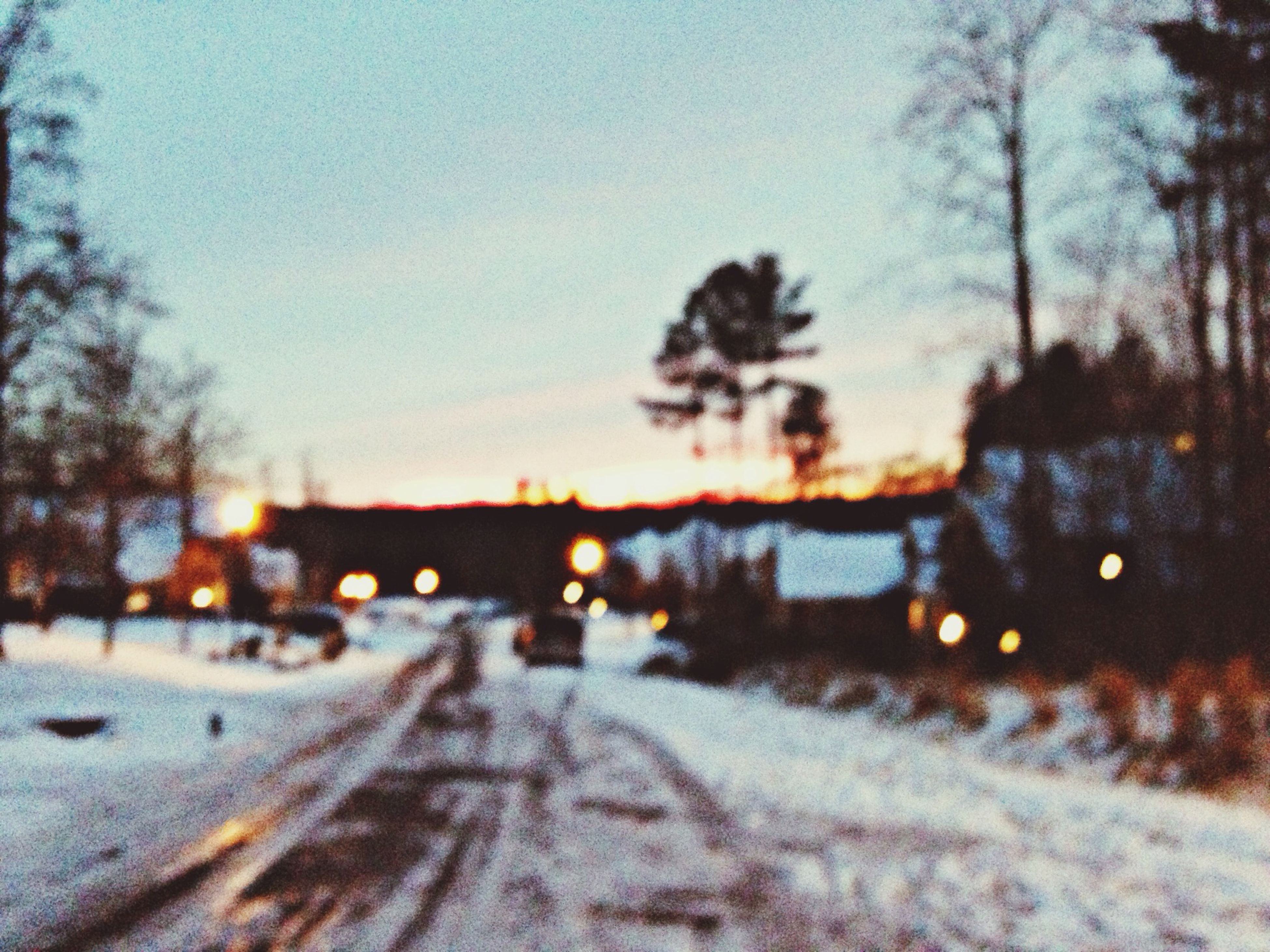 snow, winter, cold temperature, season, weather, transportation, road, covering, sunset, tree, street, frozen, the way forward, sky, car, dusk, nature, bare tree, landscape, clear sky