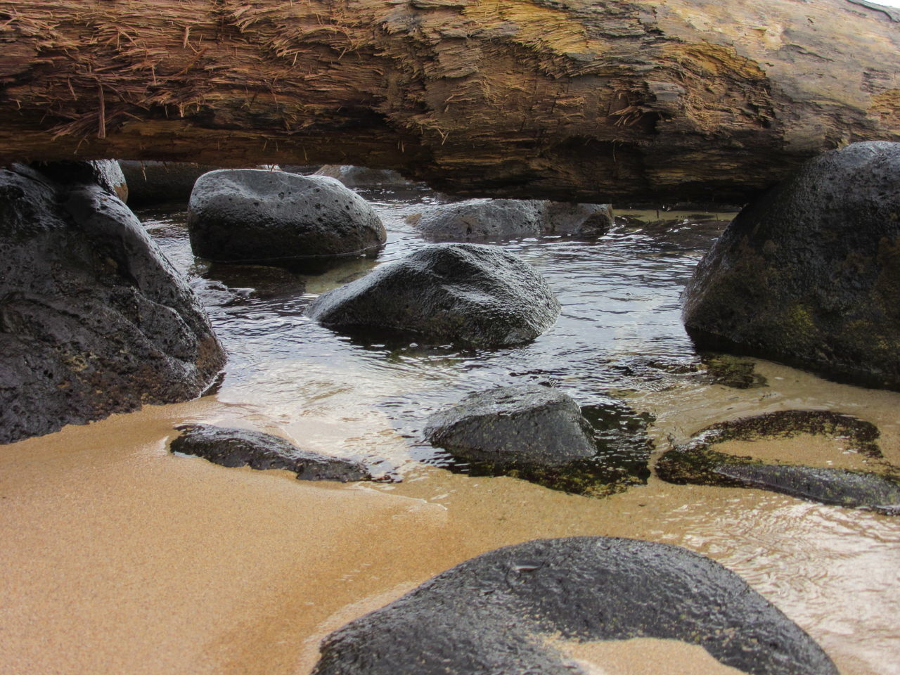Nature Sand Beauty In Nature Outdoors Close-up Rocks And Water Driftwood Tide Tranquil Scene