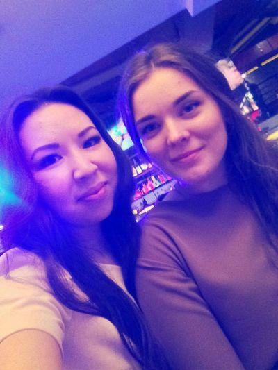 Young Adult Nightlife Friendship Illuminated Nightclub
