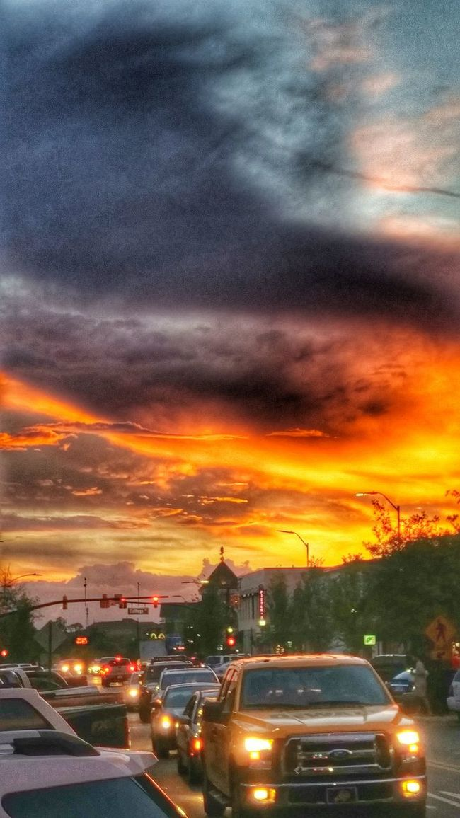 I give good sky... Sunset Detail Sky Beauty In Nature Auburn, Alabama Auburn University Fiery Sunset... Fiery Sunset Clouds And Sky Traffic Headlights And Taillights