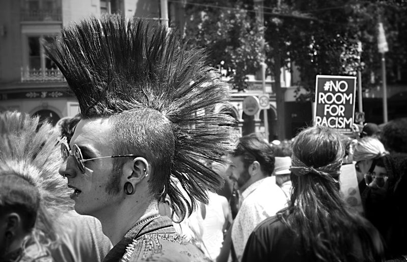 Melbourne Anti-Racism Punks at the Invasion Day Australia Day Protest March, to recognise Australia's First Nation People, and the suffering and loss this day represents for our indigenous people. #AlwaysWasAlwaysWillBeAboriginalLand Always Was Always Will Be Aboriginal Land Anti Racism Anti Racist Punks Australia & Travel Australia Day Black And White Photography Black Lives Matter Diversity Equality Indigenous  Invasion Day Protest Melbourne No Room For Racism Protest Punk Rally Rally Against Racism Recognising Our Aboriginal People Togetherness Punkrock Hairstyle Monochrome Photography Resist