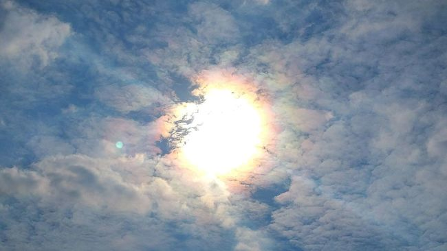 Chemtrails Whatthefuckaretheyspraying Chemical Haze GeoEngineering Chemical Sun look at the rainbow/prism effect around the sun..this is the light refracting through the chemical/heavy metal haze Blue Wave
