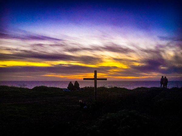 Cross on the Cliff... Sunset Beauty In Nature Sky Nature Real People Silhouette Scenics Cloud - Sky Sunsetlover Photography Is Life Color Photography Sunset_captures Clouds And Sky EyeEm Best Shots Pacific Ocean Travel Destinations Beach Santa Cruz, Ca Panther Beach California Love California Coast Horizon Over Water Nor Cal Sunset Landscape Sunset And Clouds