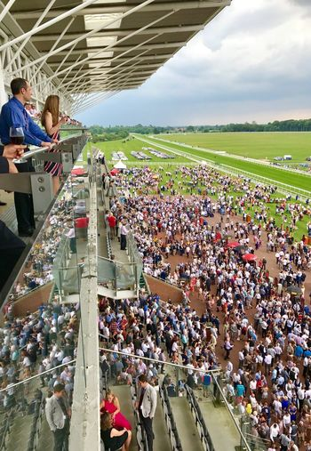 View from the Grandstand Large Group Of People Crowd Men Women Mixed Age Range Togetherness Watching High Angle View Spectator Real People Adults Only