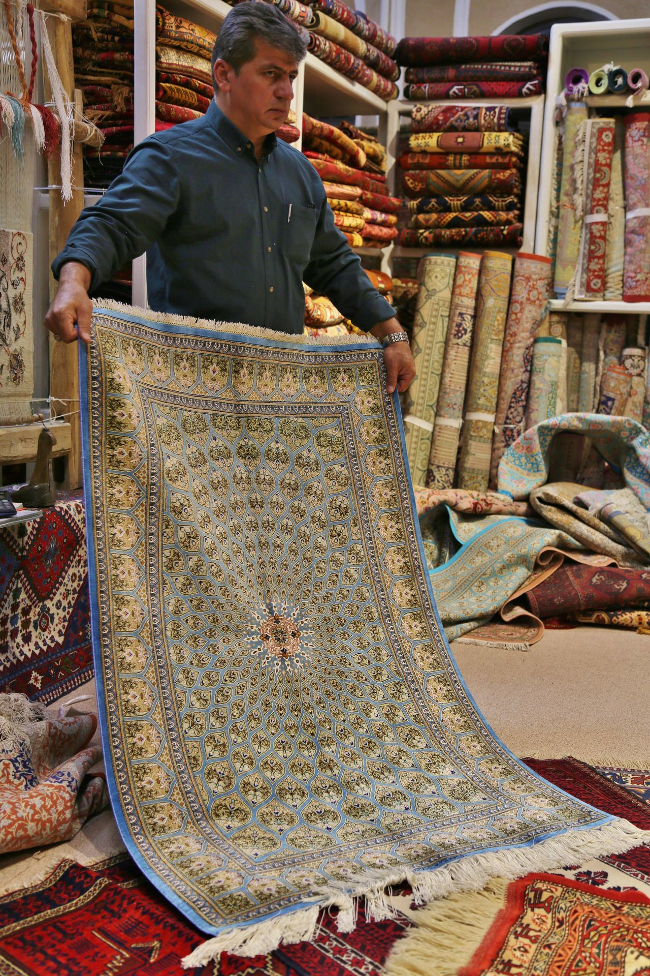 Iranian Carpets Real People One Person Mature Adult Only Men Adults Only Food Working Outdoors Men People Day Occupation One Man Only Adult Cultures Travel Color Photography