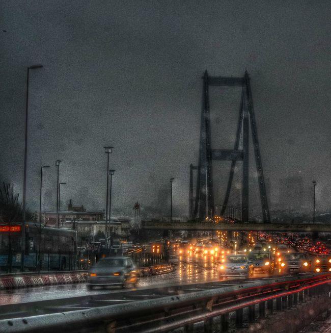 Istanbul Istanbul Turkey Kar Snow Snow ❄ Snowing Lights Traffic Cars 15temmuzşehitlerköprüsü