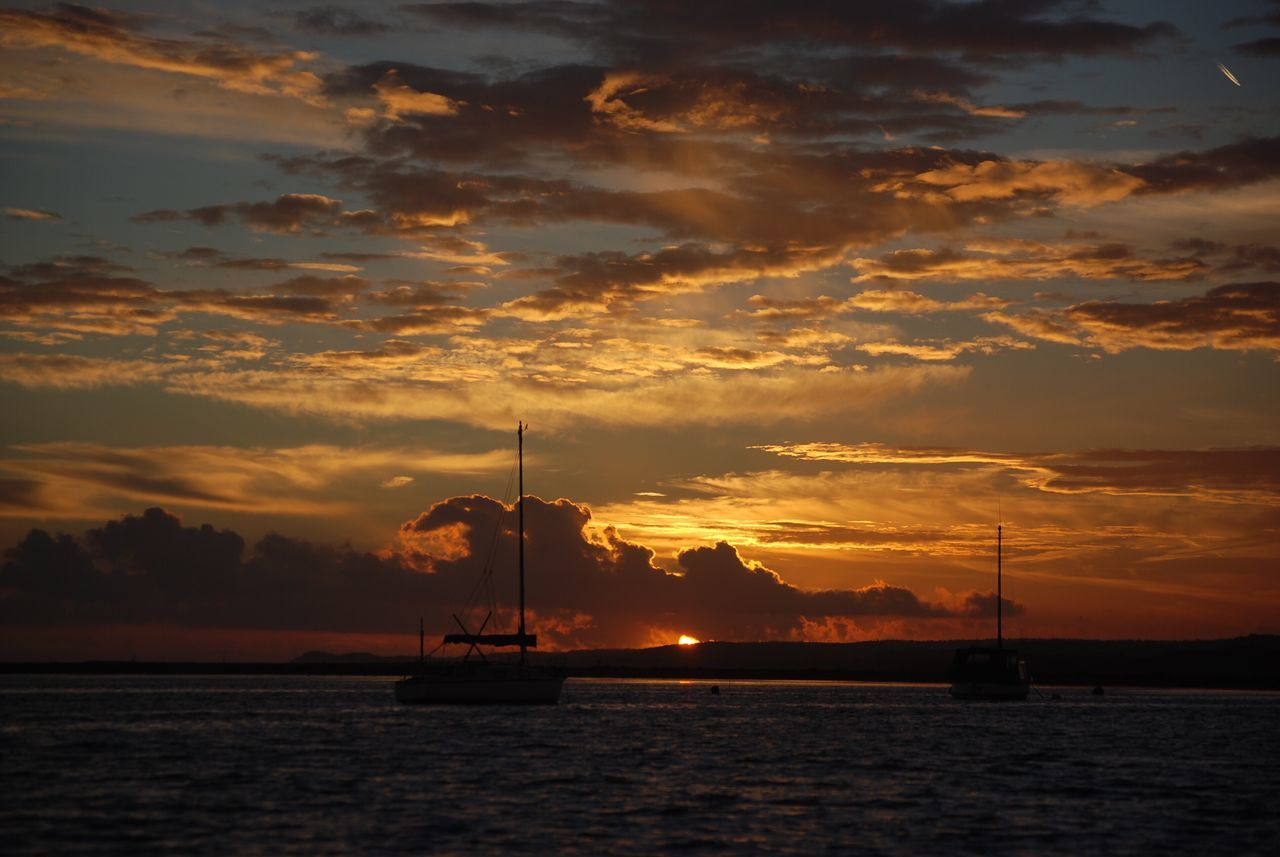 Sunset Sea Sky Water Cloud - Sky Nautical Vessel Beauty In Nature Mast Idyllic No People Tranquil Scene Sailboat Scenics Silhouette Sailing Nature Outdoors Sailing Ship Yacht Day