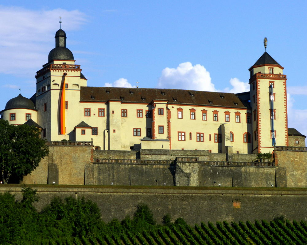 View of the Marienberg Fortress, a prominent landmark on the left bank of the Main river in Würzburg, in the Franconia region of Bavaria, Germany. Architecture Bavaria Building Exterior Built Structure Castle Day Famous Landmarks Fortress Germany Marienberg No People Outdoors Sky Würzburg