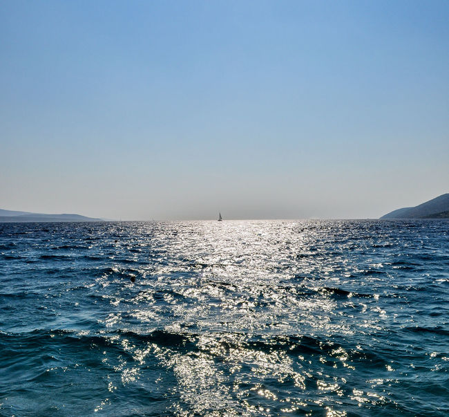 Beauty In Nature Blue Calm Clear Sky Clear Sky Copy Space Croatia Day FAR AWAY Horizon Over Water Nature No People Outdoors Rippled Scenics Sea Sky Tranquil Scene Tranquility Water Water Reflections Waterfront Wave Zlatni Rat