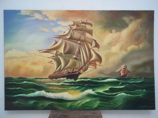Painting ArtWork Color Art Artist Canvas Oil Oil Colour Light Canvas Oil Paintings  Ship Sea