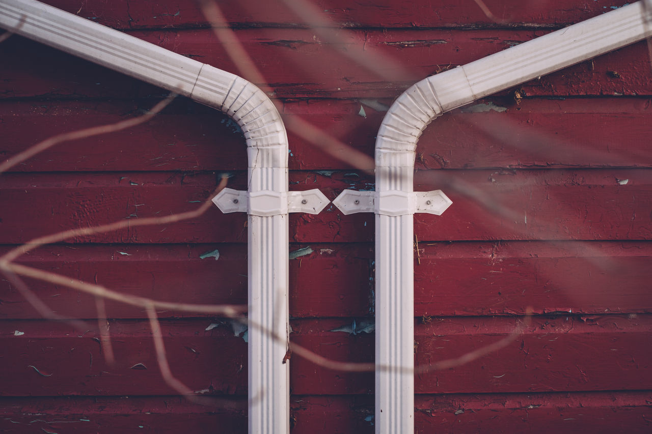 Architecture Branches Building Exterior Built Structure Centered Centered Composition Close-up Day Eavestrough No People Outdoors Red Shooting Through Symetrical