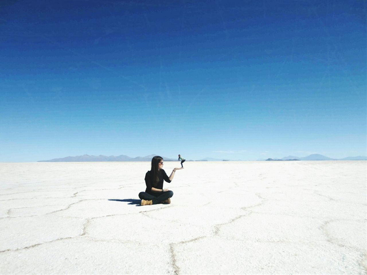Salar De Uyuni Blue Sky Proposition Afar Traveling Exploring Scenic View Landscape Stunning Desert Salt SaltDesert Beautiful Little Girl Having Fun Sunnyday Noclouds Bigandsmall Size