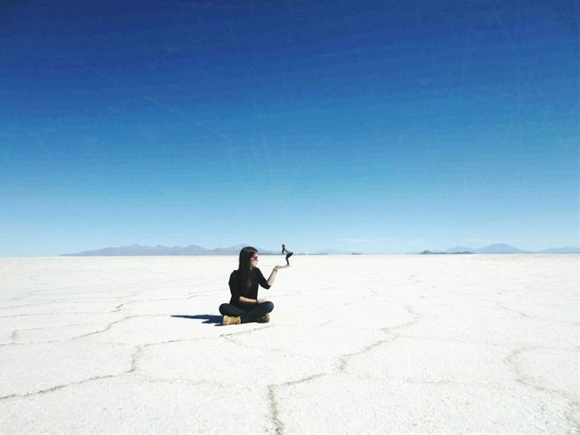 Salar De Uyuni Blue Sky Proposition Afar Traveling Exploring Scenic View Landscape Stunning Desert Salt SaltDesert Beautiful Little Girl Having Fun Sunnyday Noclouds Bigandsmall Size