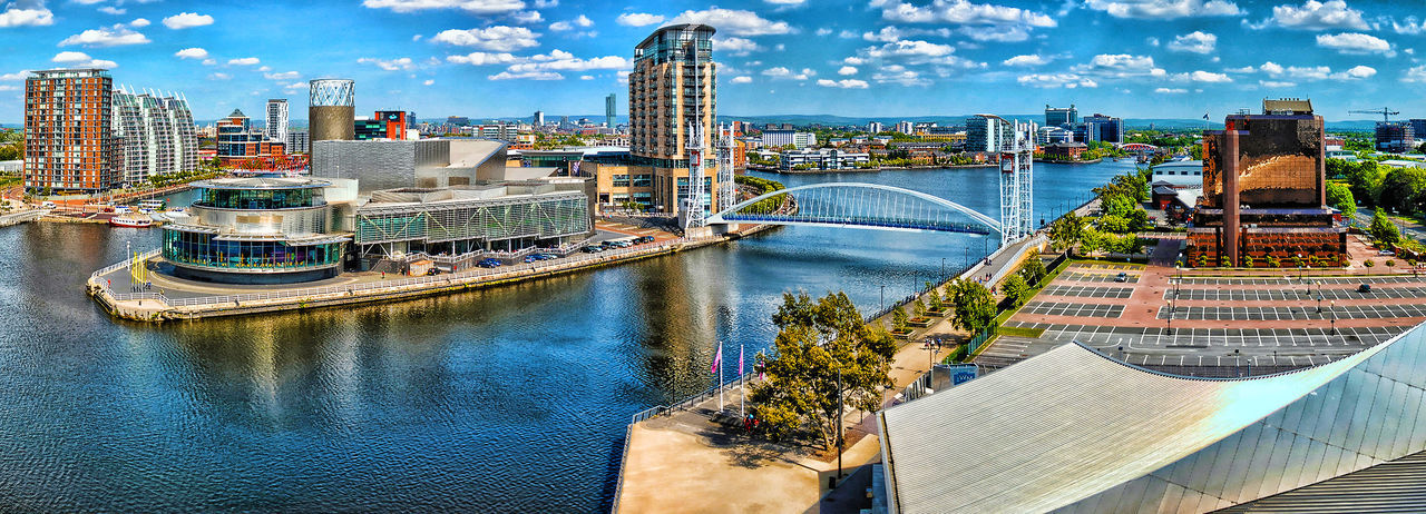 Pano of Salford quays Manchester Architecture Ariel Shot Bridge Bridge - Man Made Structure Building Exterior Built Structure Capital Cities  City Cityscape Connection Engineering Famous Place International Landmark Manchester Outdoors Residential District River Salford Salford Quays Water Waterfront First Eyeem Photo