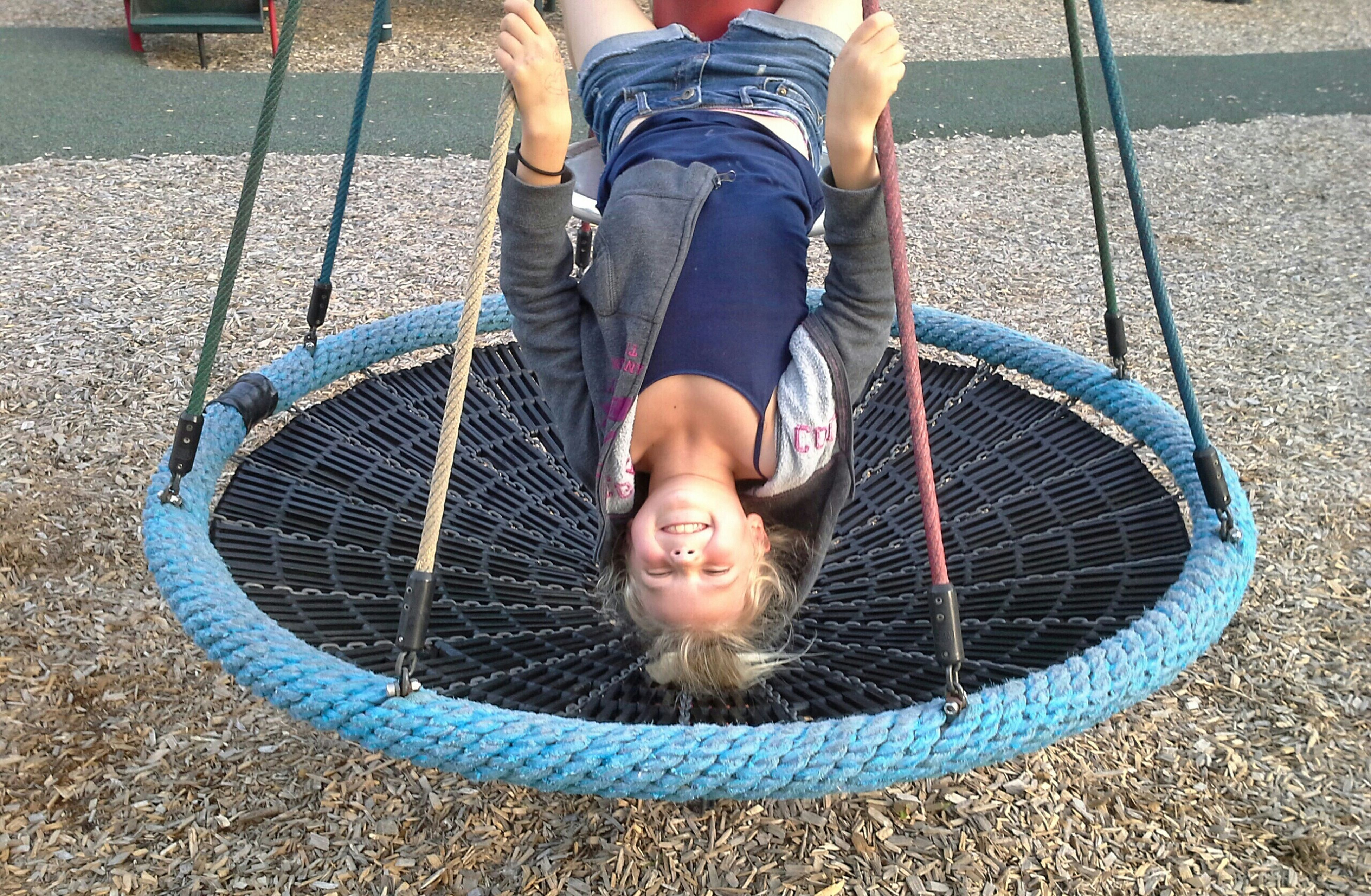 childhood, elementary age, lifestyles, boys, leisure activity, innocence, girls, high angle view, casual clothing, cute, playful, full length, person, playing, playground, standing, day, outdoors