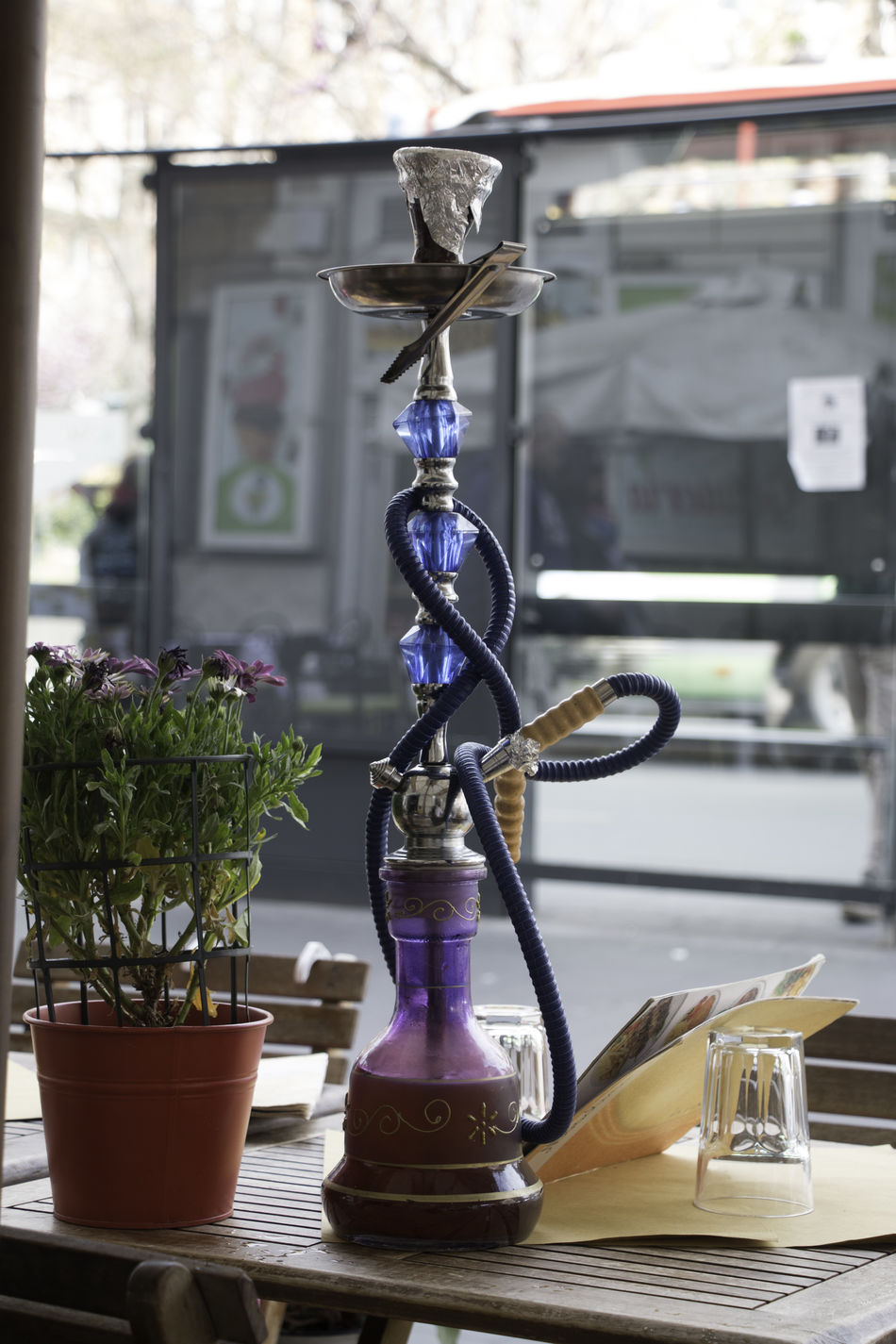 Cafe Hookah Cafe City Focus On Foreground Hookah Pipe Street View Tourinsm Travel