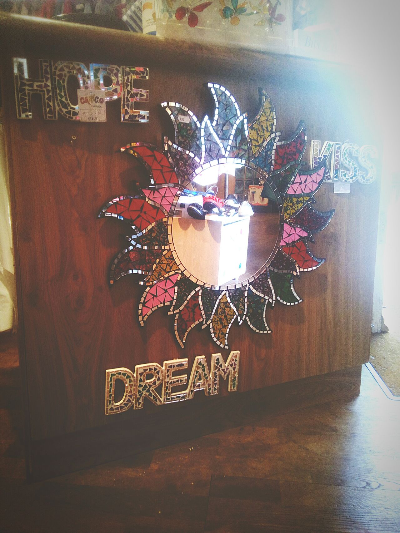 I just redecorated my work place! No People Indoors  Day Close-up Sun Mirror Sparkling Colours Kiss Dream Hope Decoration Shop Retail  Gift Job Great Atmosphere Great Gift Glitter Woden Space