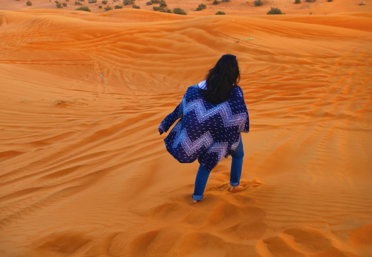 Miles Away Travel Photography Desert Sand Dune One Person Rear View Sand Lifestyles Outdoors Nature Beauty In Nature Non Recognizable People Dubai UAE Traveling Vacations Women Around The World