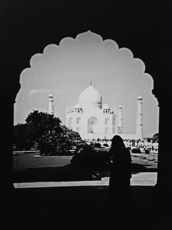 Architecture Building Exterior Dome Serene Taj Mahal Peeping Taj Mahal, Agra India One Person Standing Adults Only Cultures When Two Different Worlds Collide Taj Mahal Vintage Photo Sari Me Wonders Of The World Wonderful Place Wonderful View